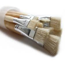olie en acryl varkenshaar penselen plat 12 stuks in koker